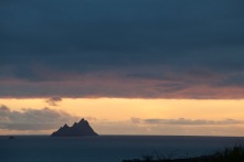 As the sun set, we glimpsed the silhouette of Skellig Michael.