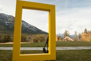 Let's Explore! The National Geographic Logo at the Banff Mountain Center in Banff National Park, Canada. November 2014.