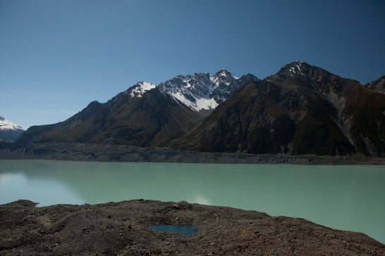 The bright green waters from the Tasman Glacier (not pictured) in New Zealand.